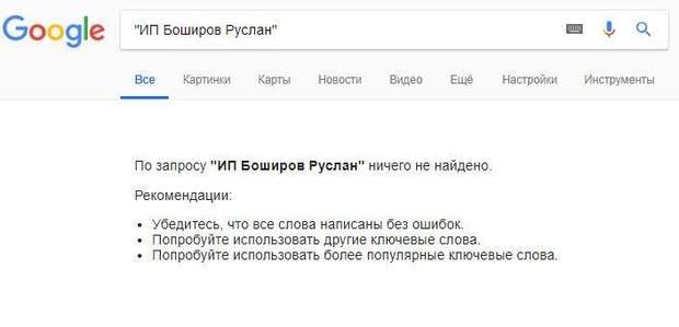 Руслана Боширова немає серед списку підприємців