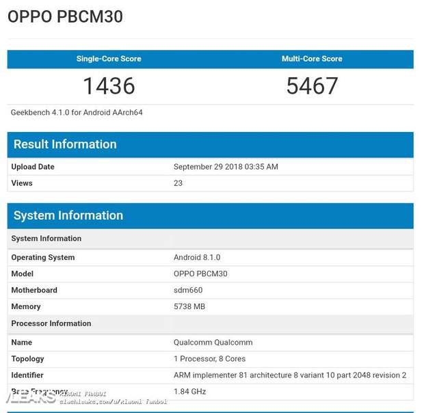 Результати тестування Oppo K1 в Geekbench