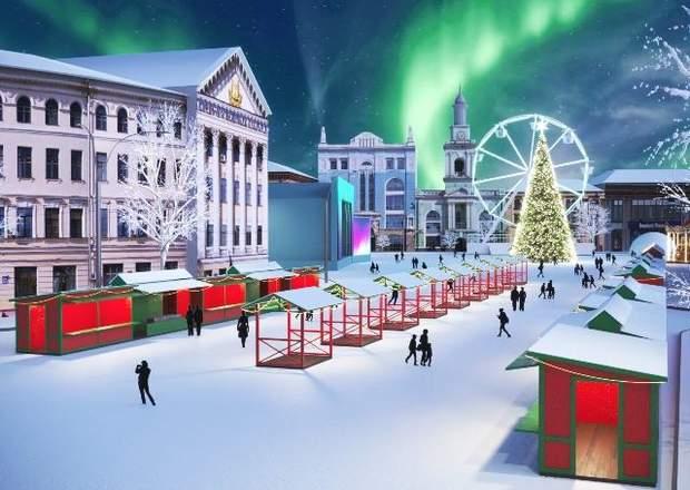макет новорічного містечка у Києві