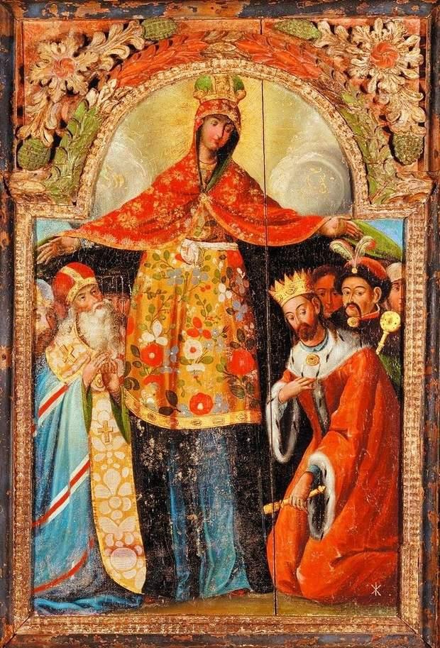 Ікона Покров Богородиці із зображенням Гетьмана Богдана Хмельницького (праворуч, із булавою) і архієпископа Лазаря Барановича (ліворуч)