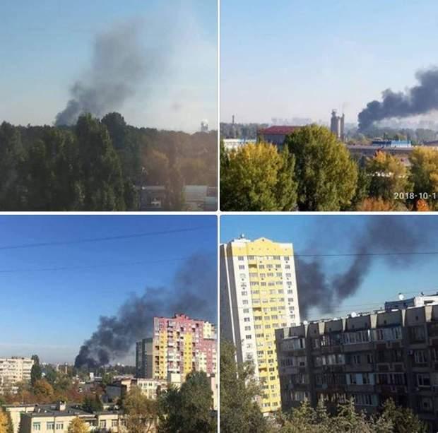 Над Києвом через пожежу повіс стовп чорного диму