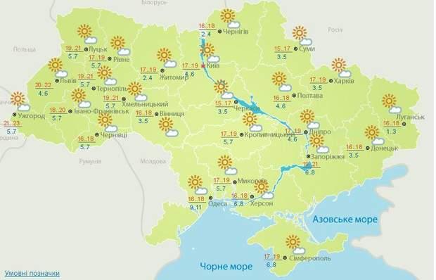 Прогноз погоди в Україні на суботу, 13 жовтня
