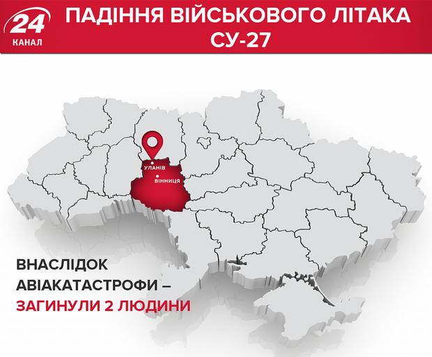 Аварія літака Су-27 УБ Уланів Вінницька область місце аварії карта