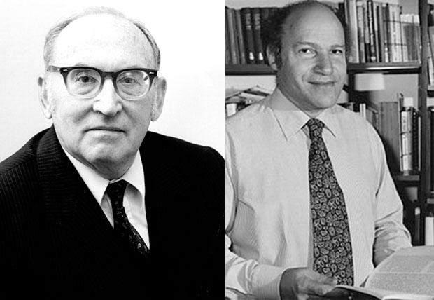 Моріс Уілкс (ліворуч) та Френк  Ленд (праворуч)