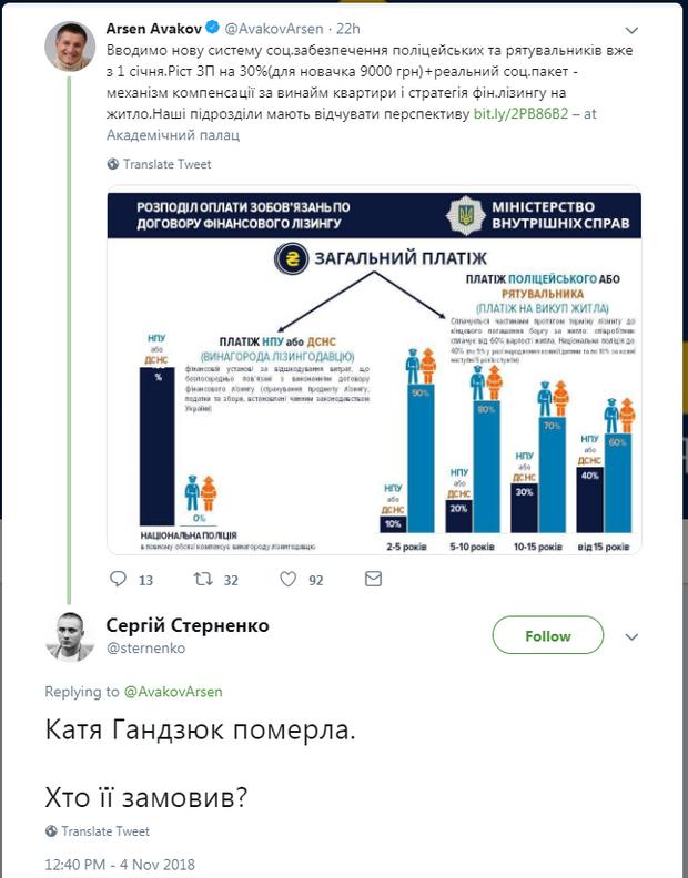 Аваков, Стерненко, Гандзюк, смерть