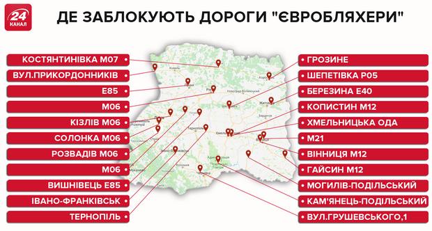 Де блокуватимуть траси 20 листопада Західна Україна