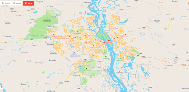 Карта Київ шумове забруднення