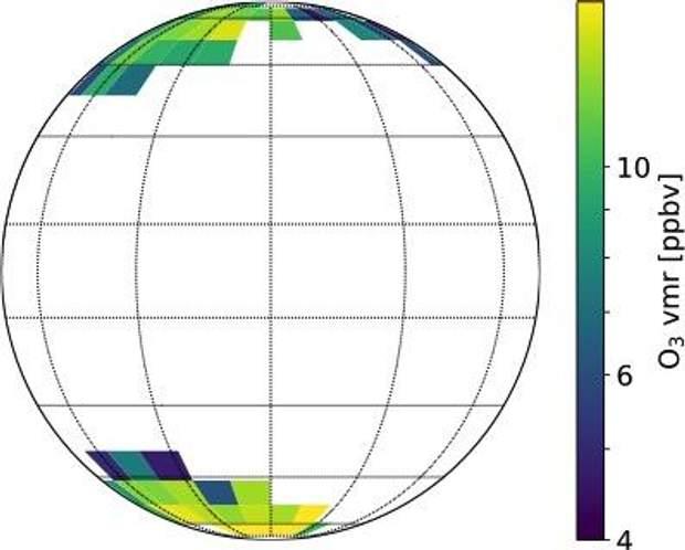 Кількість озону в атмосфері Венери