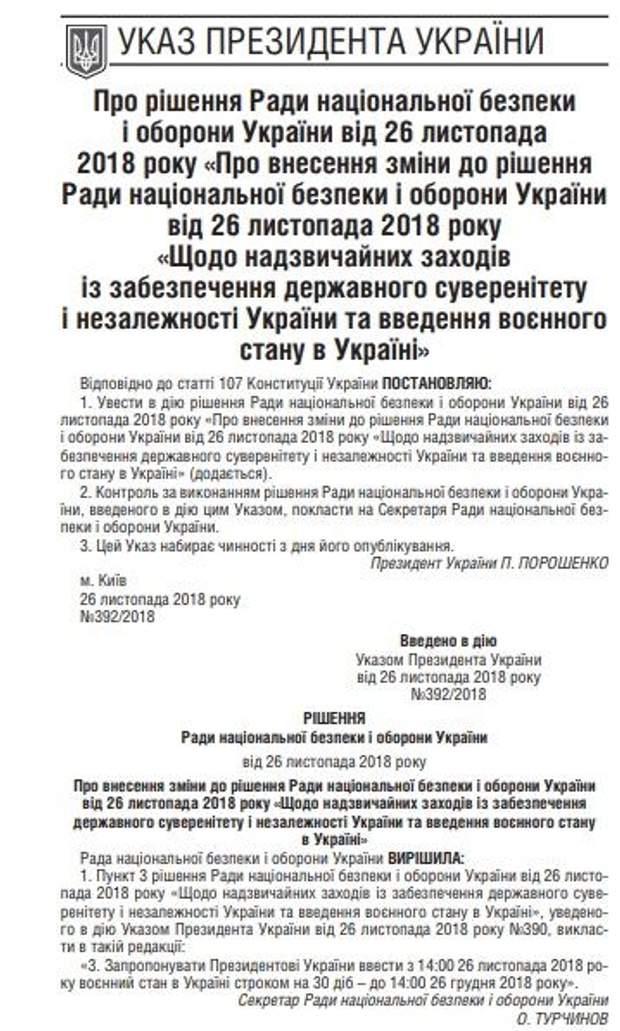Воєнний стан, Указ, Порошенко, Президент, документ, Урядовий кур'єр