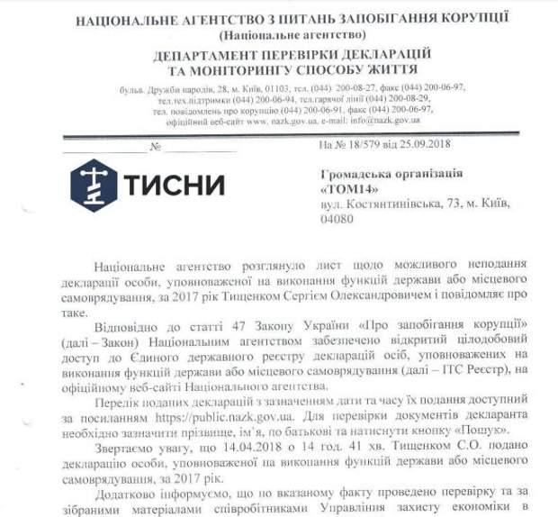 НАЗК направило до суду протокол на невчасне подання декларації депутатом Тищенком
