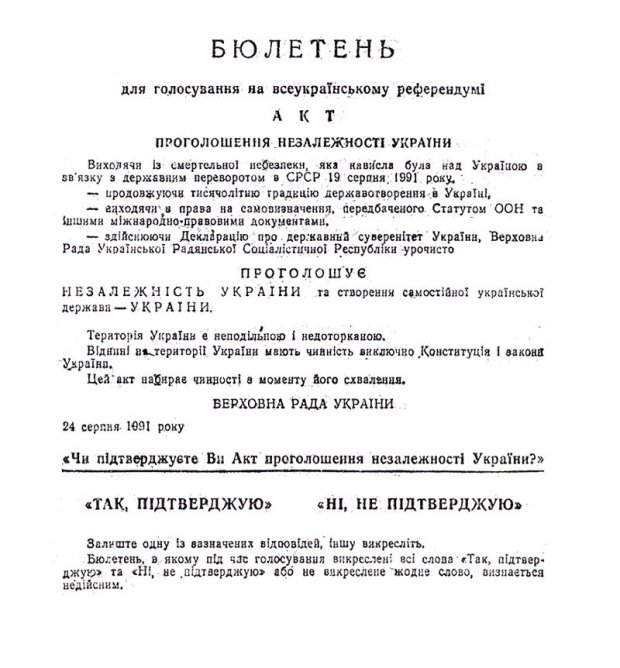 референдум незалежність України бюлетень