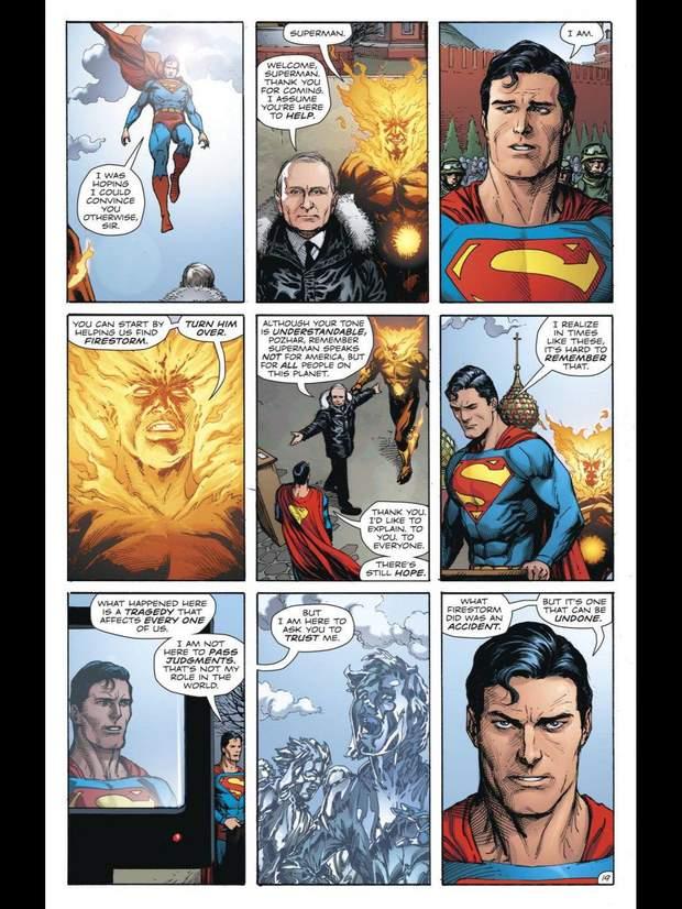 Комікси DC Путін Супермен Фаєрсторм Росія Красна площа Москва