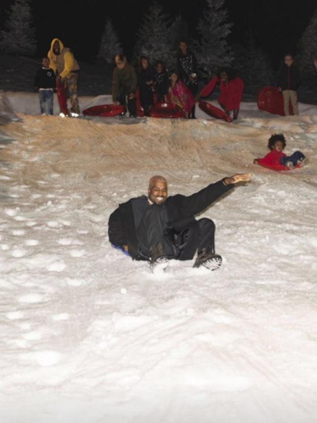 Каньє Вест покатався на снігових пагорбах