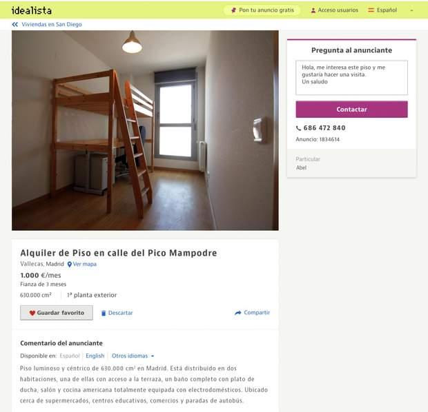 Іспанія оголошення квартира сантиметри квадратні