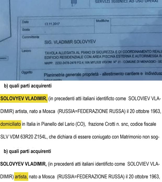 Соловйов, помістя Італія, Комо, Менаджо, Навальний, пропаганда, Росія, Кремль