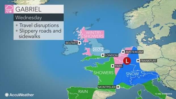 карта погода снігопад шторм Європа