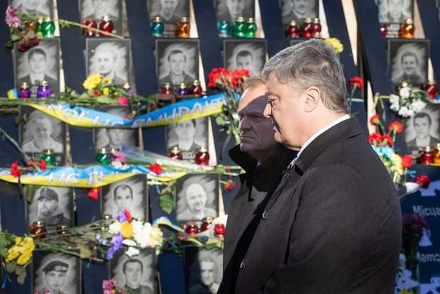 Порошенка разом з Дональдом Туском вшанували пам'ять героїв Майдану