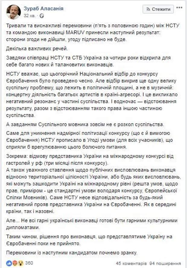 MARUV не їде на Євробачення-2019