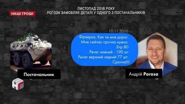 Листопад 2016 року: Рогоза замовляє деталі одному з постачальників