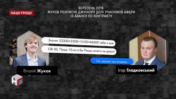 Вересень 2016 року: Жуков розповів Гладковському про заробіток від авансу
