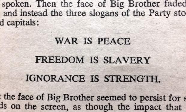 Крилаті пародійні вислови «новомови» з роману «1984»