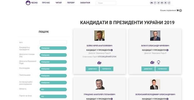 Скріншот сайті про кандидатів у президенти