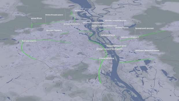 Перелік вулиць, де можна їхати 80 км/год