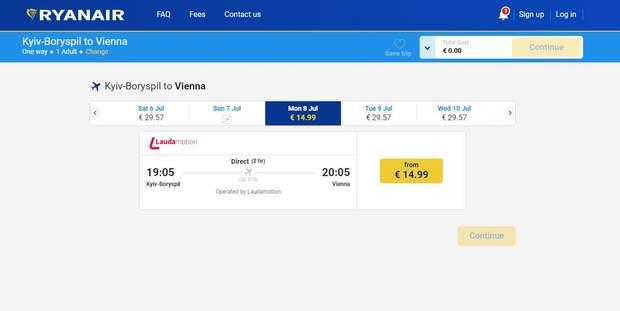 Вартість квитків Київ – Відень