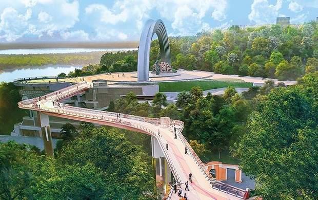 пішохідний міст, що з'єднає «Хрещатий парк» і «Володимирську гірку»