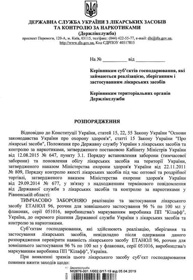 В Україні заборонили одну серію антисептика