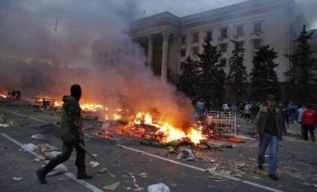Пожежа в будинку профспілок Одеса