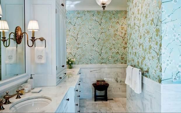 шпалери ванна інтерєр дизайн
