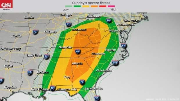 Прогноз шторму на неділю, 14 квітня, у Техасі