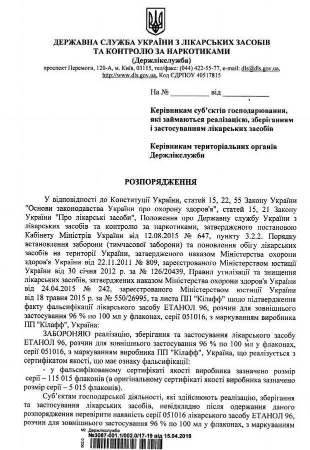 В Україні заборонили популярний антисептик через фальсифікацію