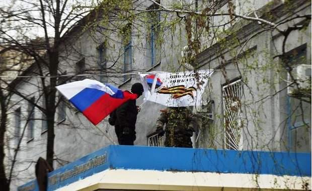 Слов'янську окупація адмінбудівлі Росія прапори бойовики Гіркін