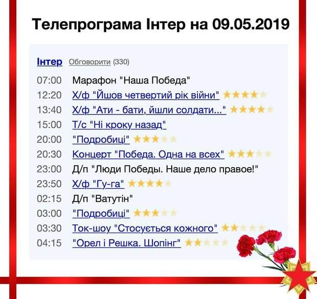 Інтер 9 травня програма День перемоги