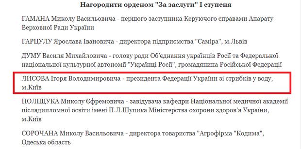 Порошенко, Лисов, Партія регіонів, орден