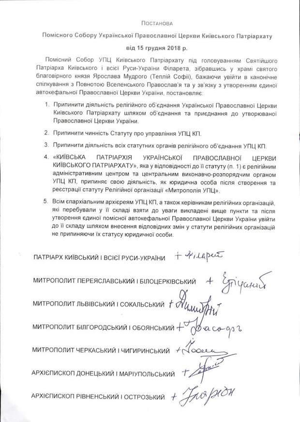 Православна церква України постанова конфлікт у ПЦУ Філарет