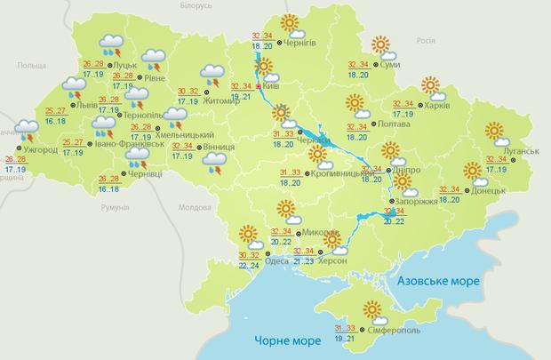 прогноз погоди Україна субота 22 червня спека