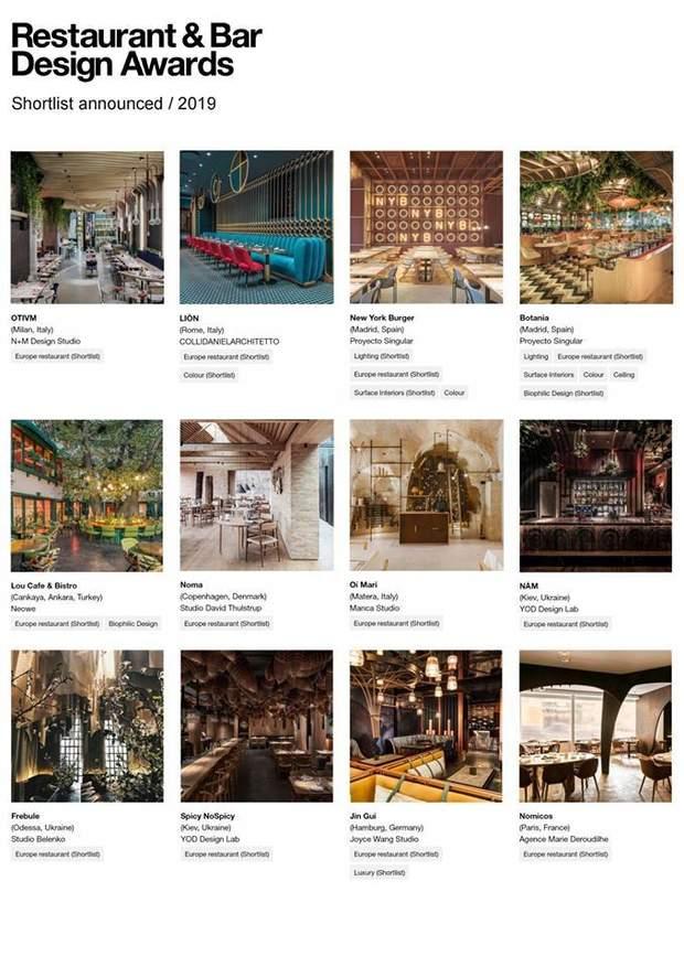 ресторани дизайн інтер'єр номінація нагороди