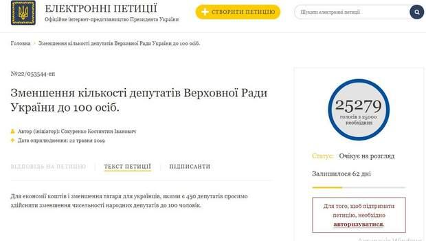 петиція президент зменшення кількості народних депутатів Верховна Рада