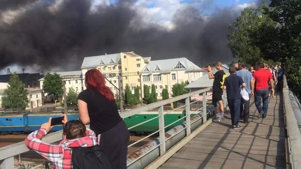 пожар Львов вокзал фото
