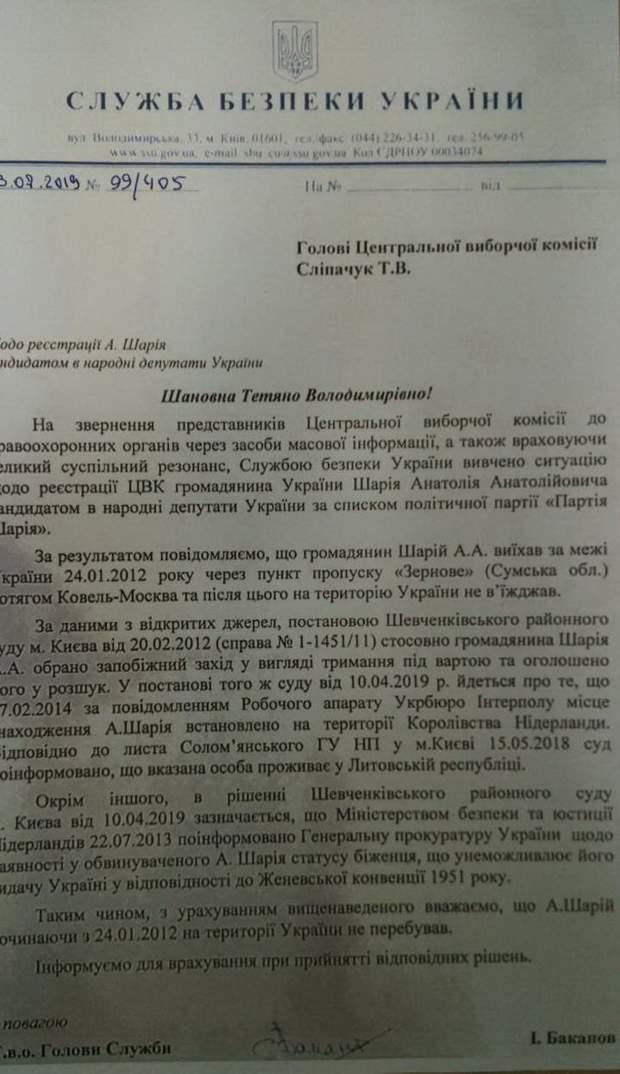 Документ щодо місця проживання Анатолія Шарія