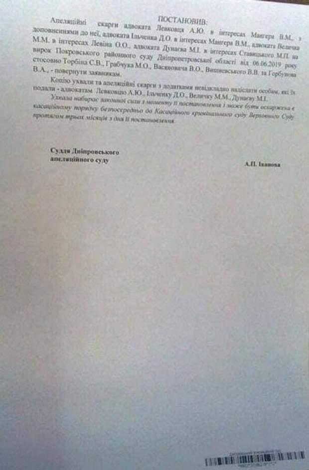 Ухвала апеляційного суду по Гандзюк