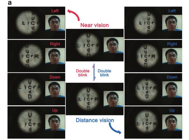 При русі очей лінза об'єктива зміщується в відповідну сторону