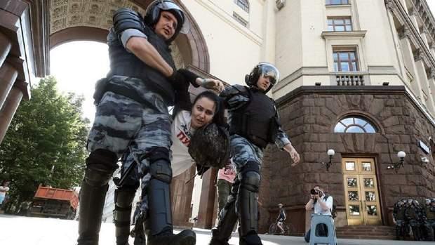 Задержания во время акции оппозиции в Москве