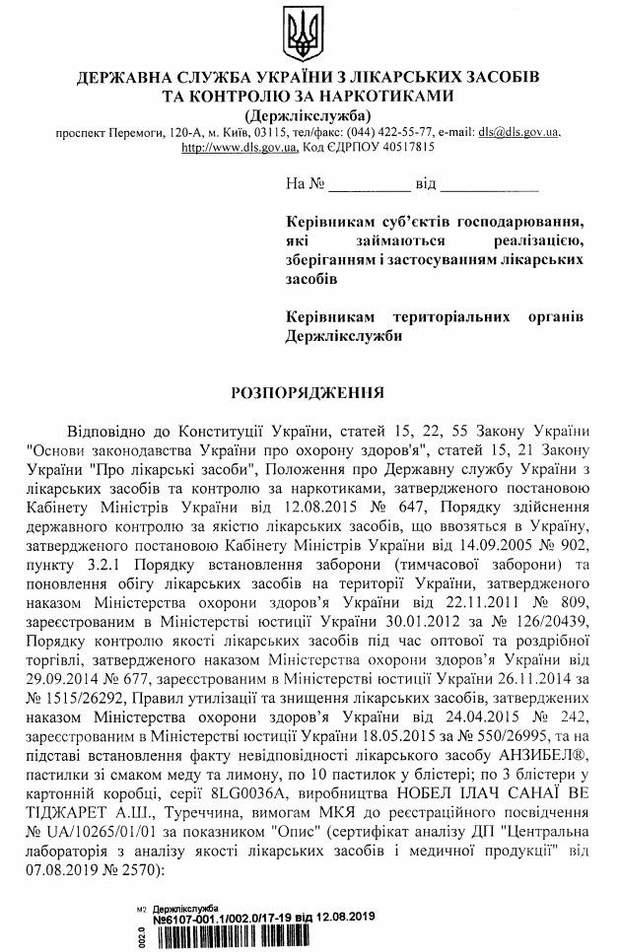 В Україні заборонили ліки від болю в горлі