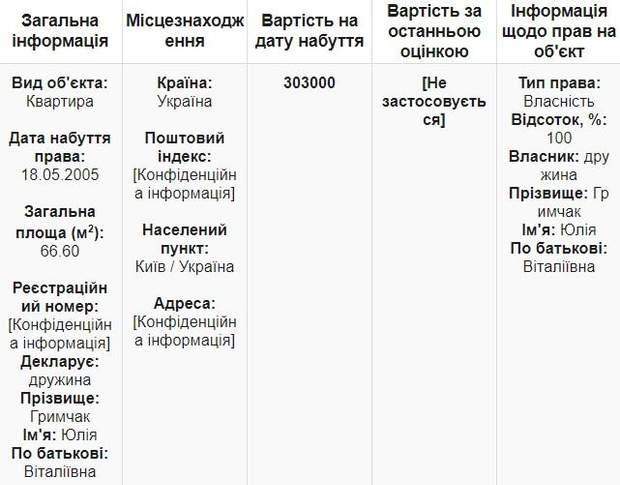 Юрій Гримчак квартира нерухомість декларація