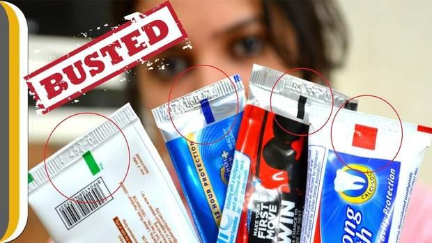 Колір смужки залежить від дизайну упаковки, а не в ід безпечності складу