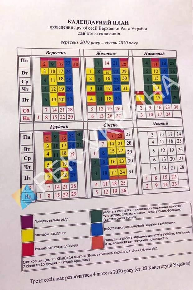 Календарний план засідання 2 сесії ВРУ 9 скликання